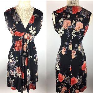 Veronica M Floral V Neck Sheath Dress